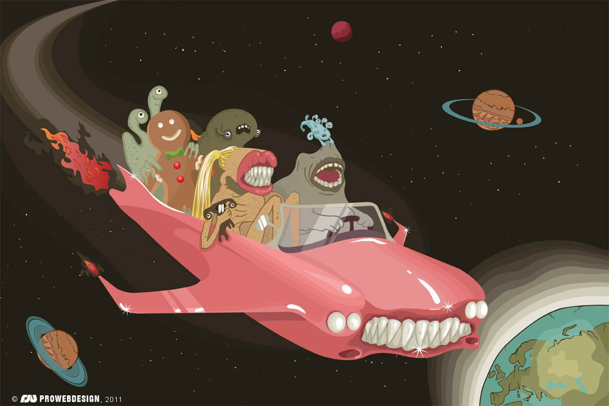 Alien freak ride. Vector illustration