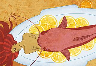 Fish dish. PhotoShop illustration