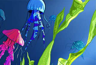 Desktop jelly fish. PhotoShop illustration