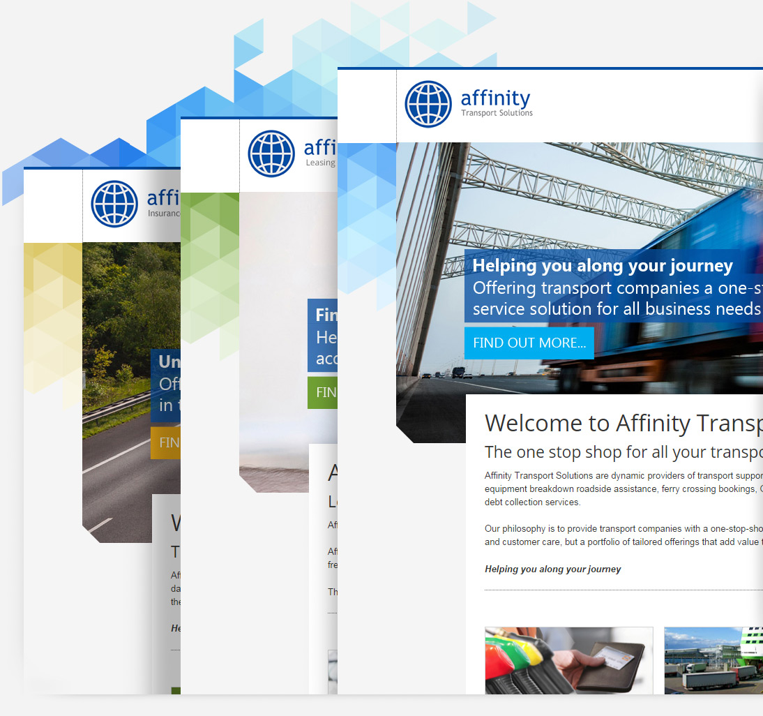 Home page Home pages, color variations of Affinity websites