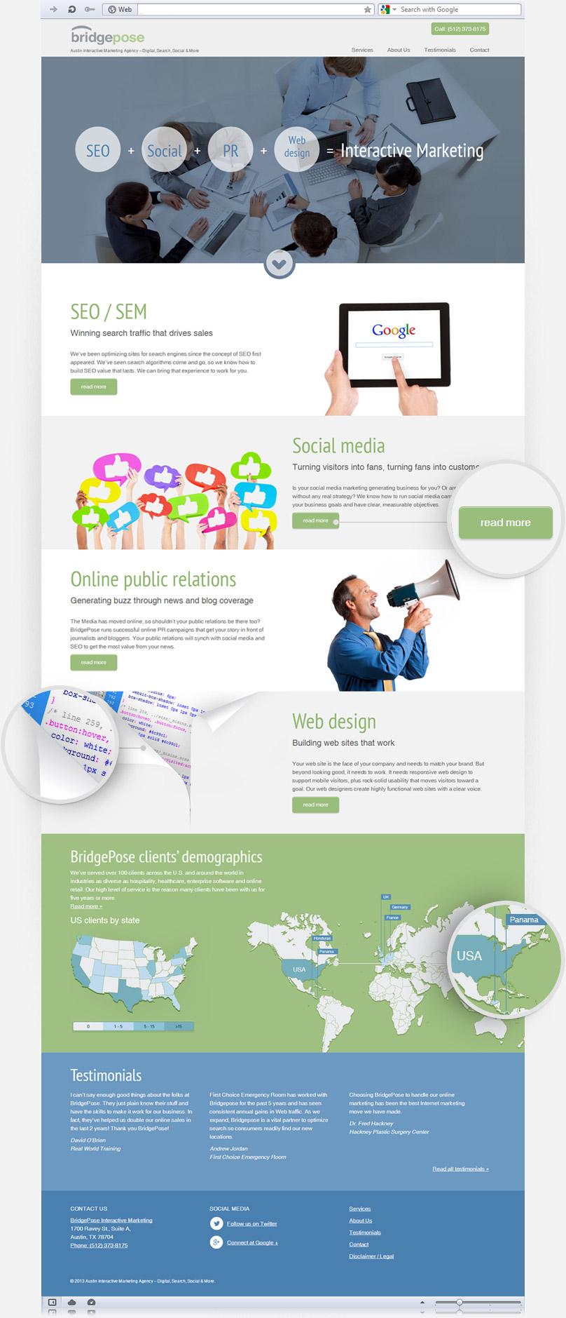 homepage of bridgepose.com screenshot