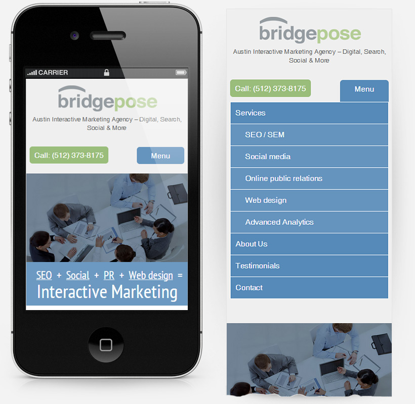 BridgePose.com on smart phone screenshot