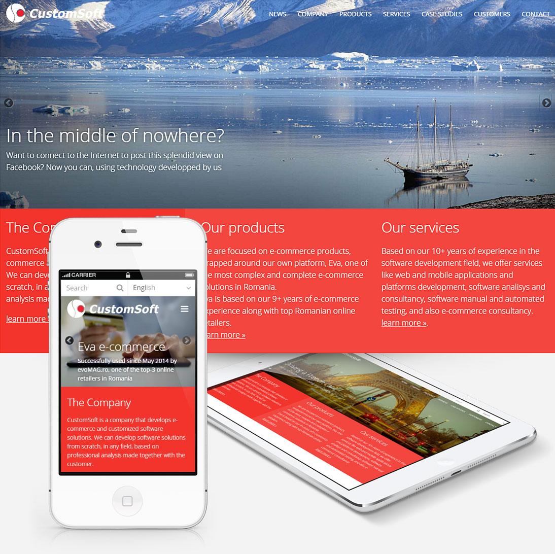 Homepage of Custom Soft site screenshot, responsive
