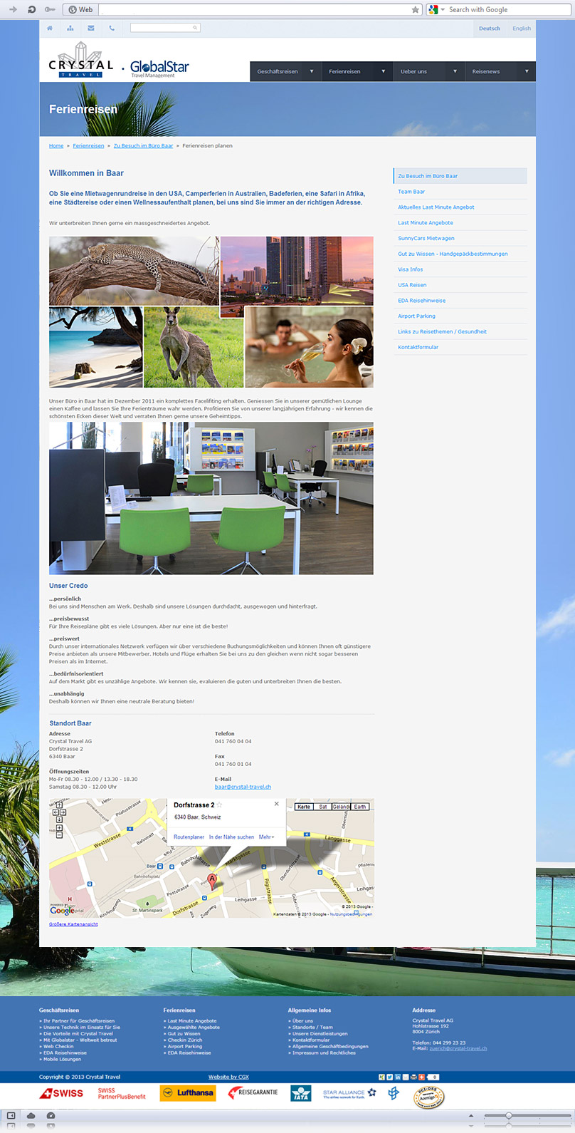 Holiday Travel page of crystal-travel.ch website screenshot
