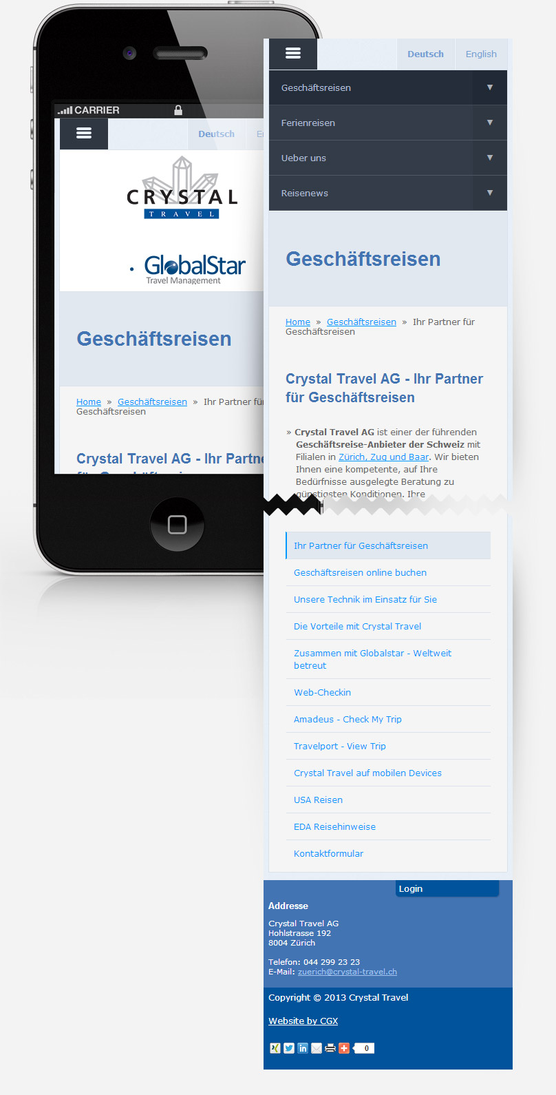 iPad portrait viw of crystal-travel.ch website screenshot