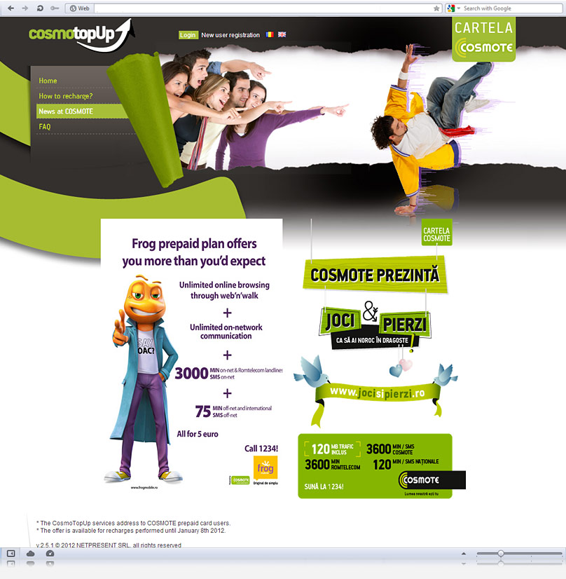 News page screenshot of Cosmotopup
