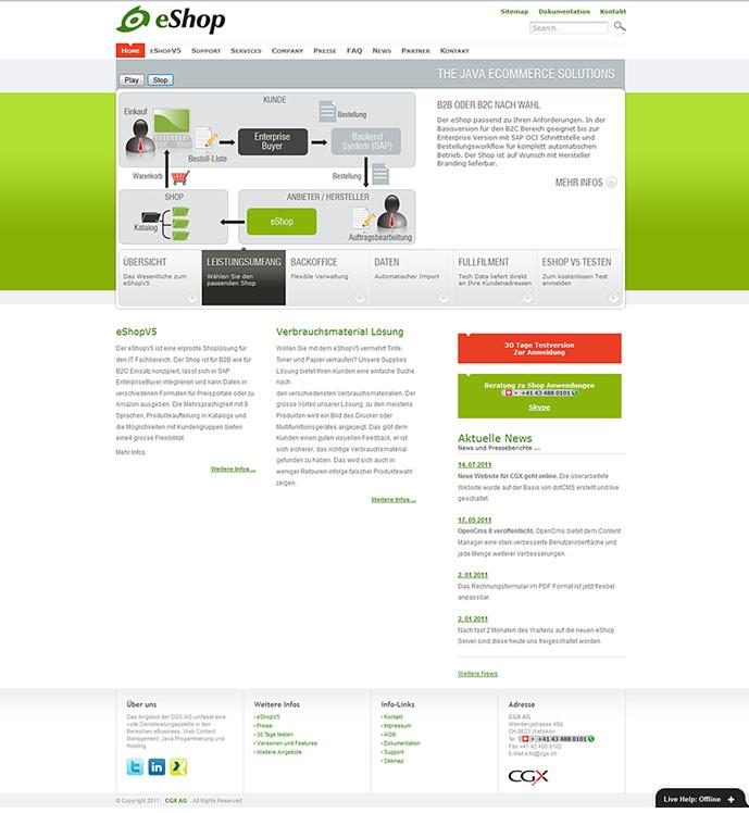 homepage of eshop v5 website