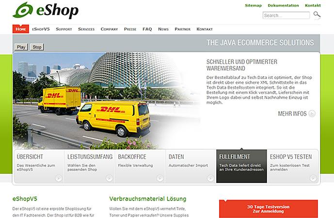 interior page of eshop v5 website