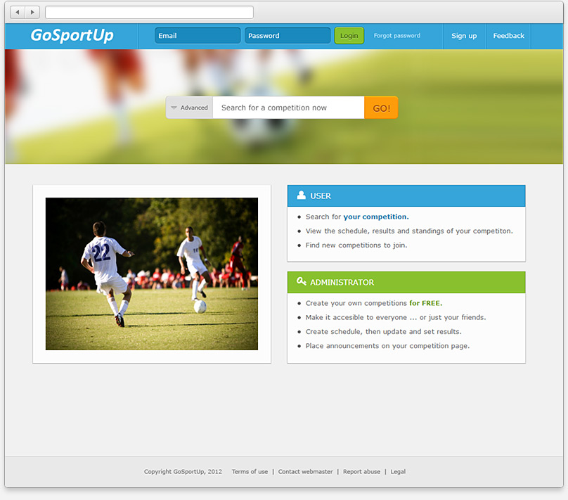 Go SportUp home page