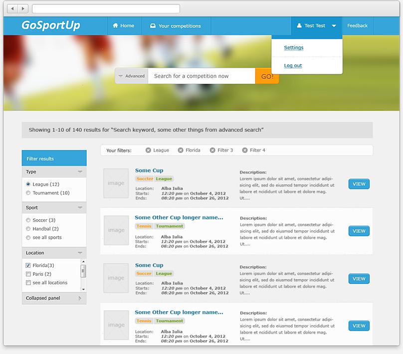 Competiton search results