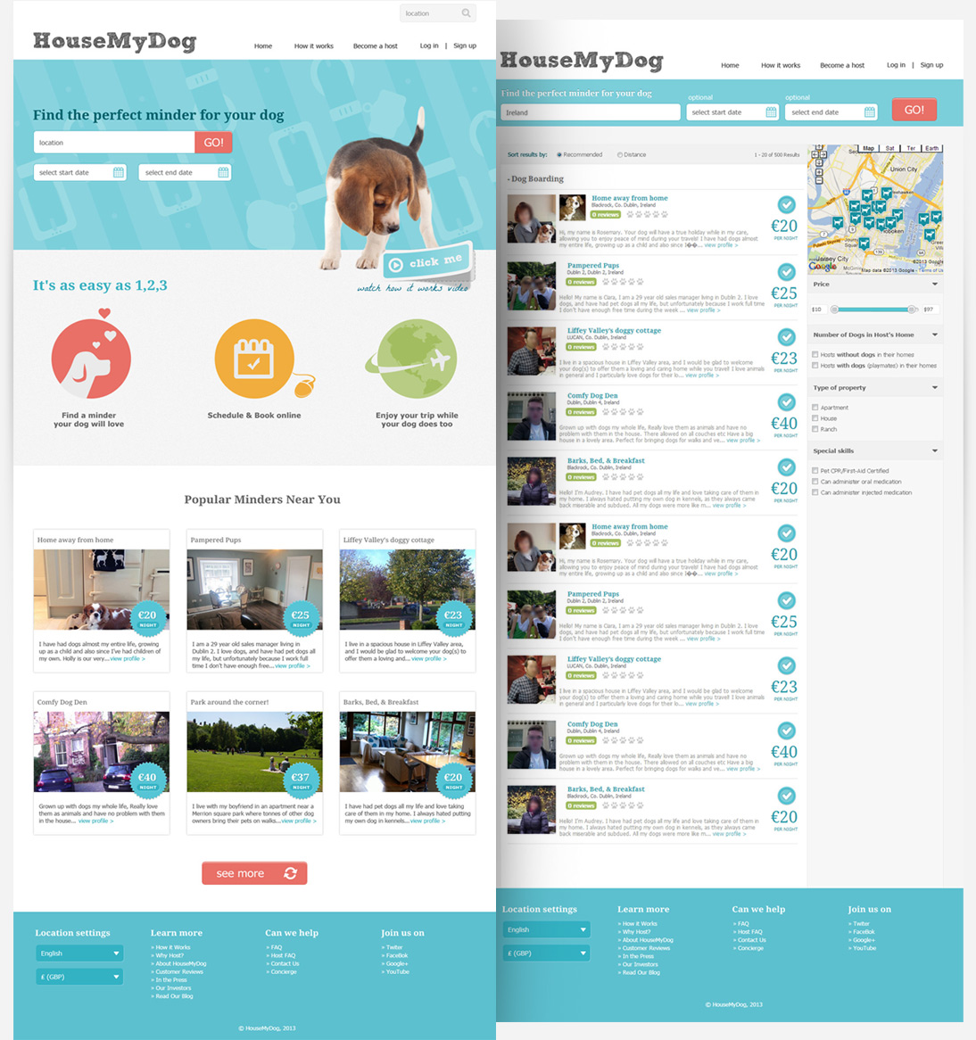 Home page & Search result pages screenshot of housemydog.com