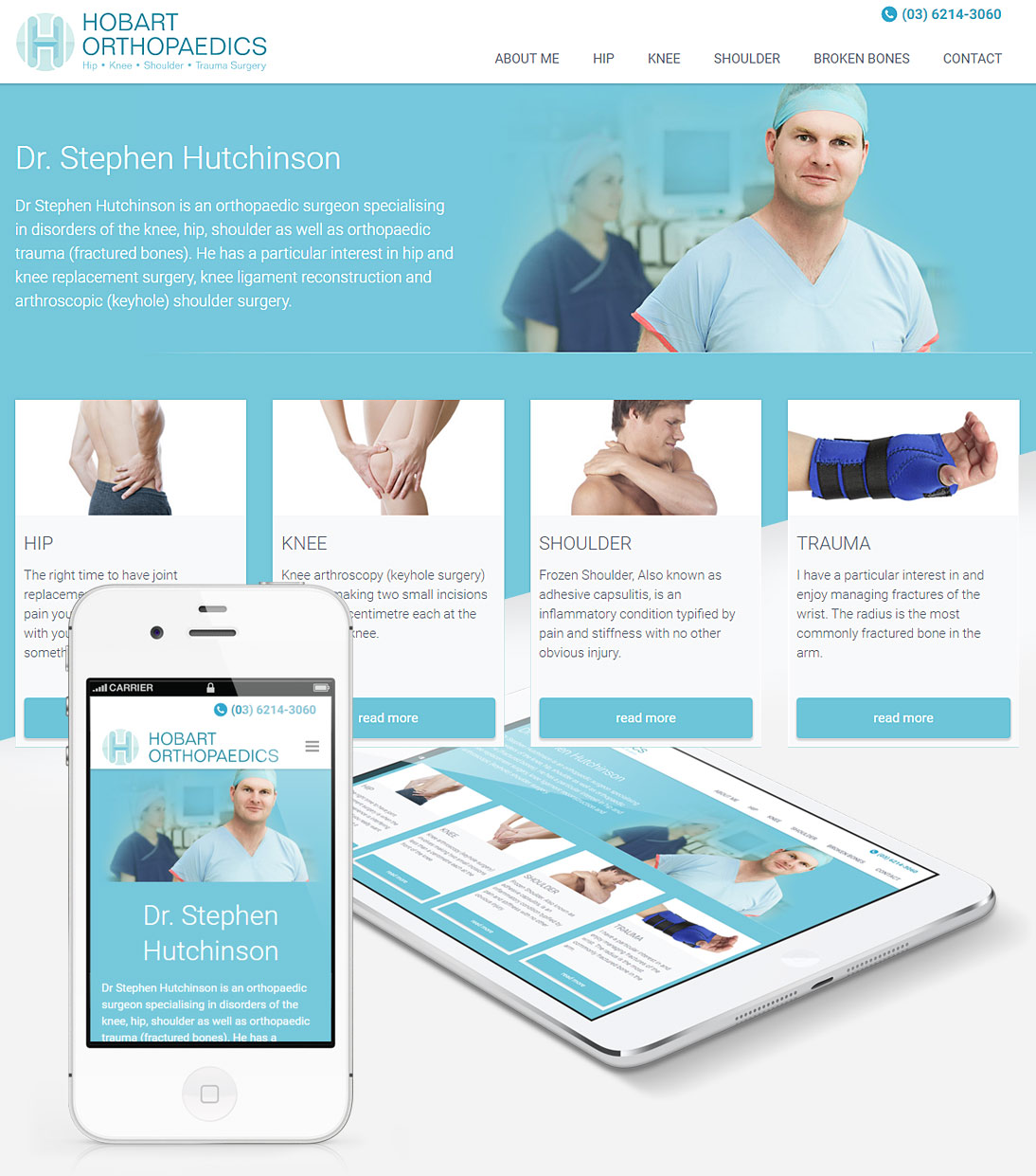 Homepage of Hobart Orthopaedics site screenshot, responsive