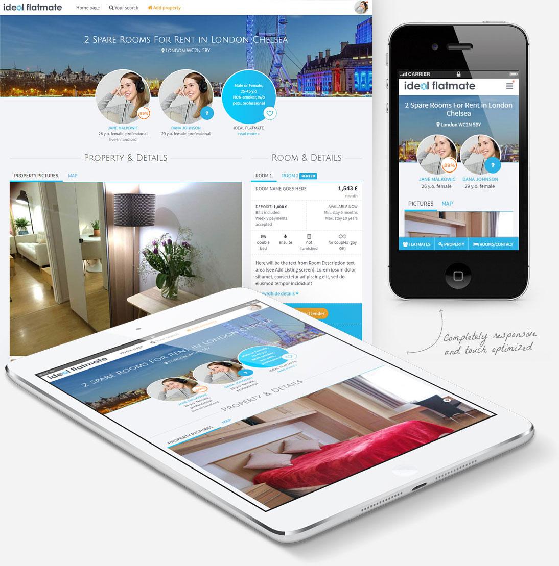 Property details of IdealFlatmate site screenshot, responsive
