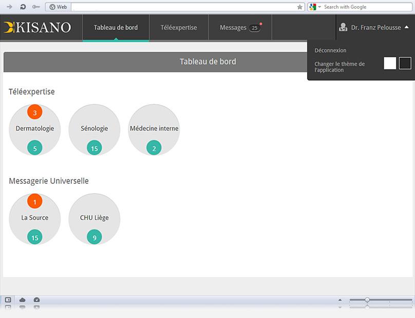 Kisano web app dashboard, light