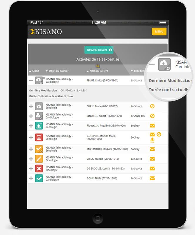 Kisano app on iPad, light theme