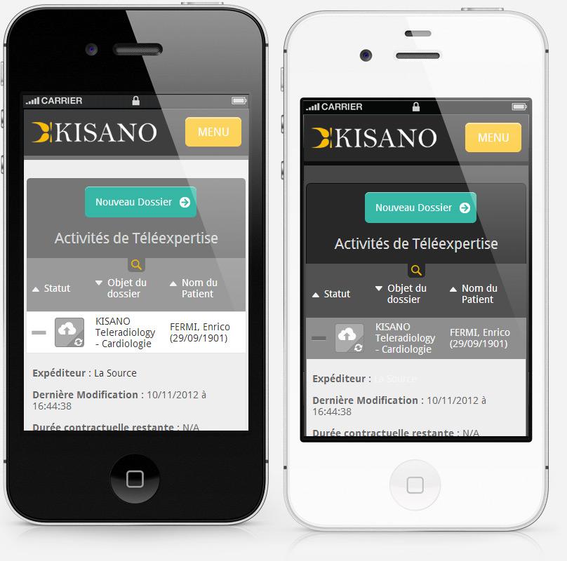 Kisano app on smart phone, light & dark themes