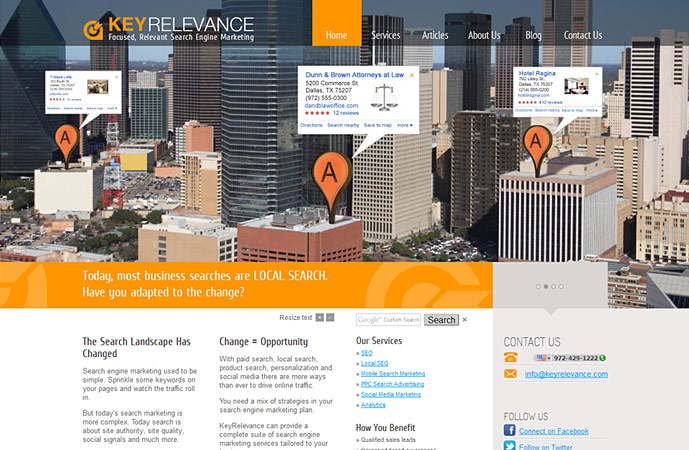 homepage of keyrelevance.com website. Actionpanel slide 2 screenshot