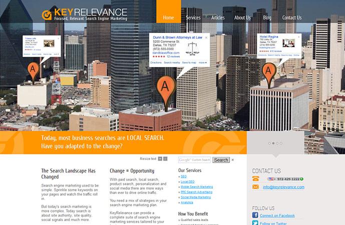 homepage of keyrelevance.com website. Actionpanel slide 2 screenshot