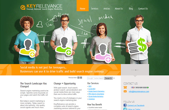 homepage of keyrelevance.com website. Actionpanel slide 3 screenshot