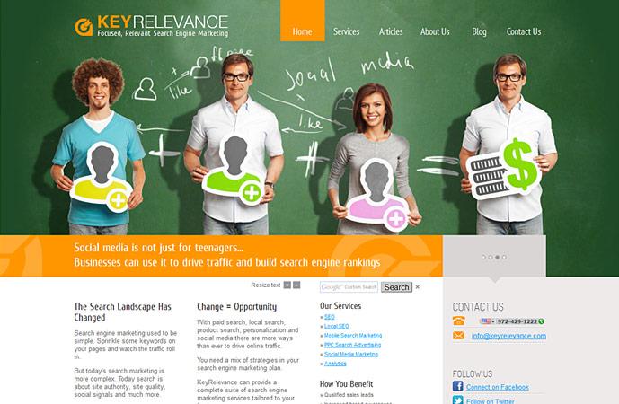 homepage of keyrelevance.com website. Actionpanel slide 3 screenshot