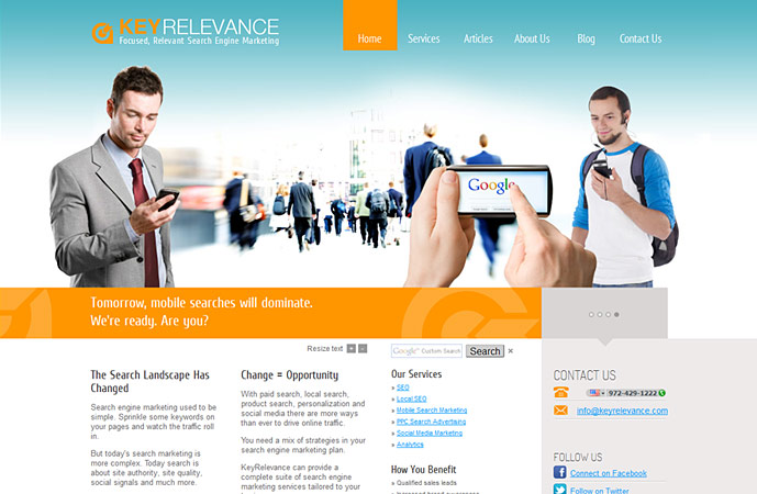 homepage of keyrelevance.com website. Actionpanel slide 4 screenshot