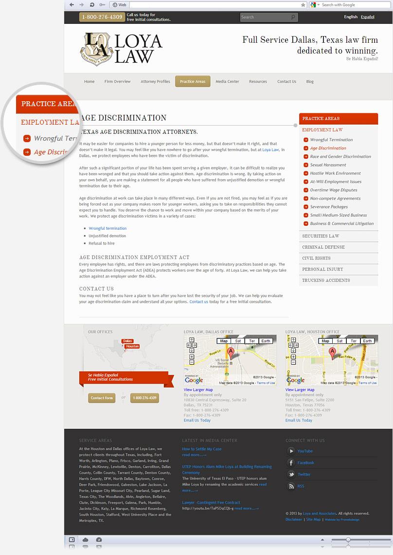 practice areas of loyalaw.com website screenshot