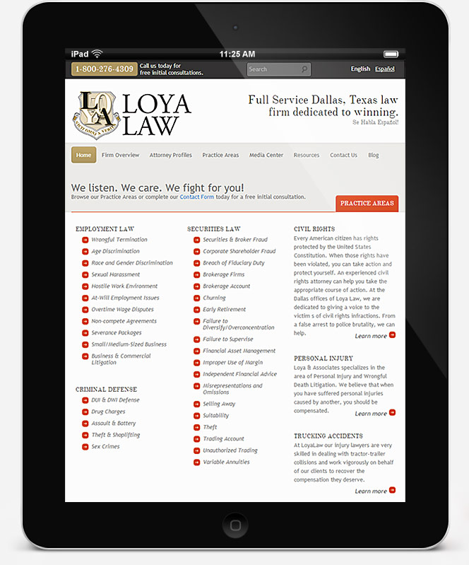 loyalaw.com website screenshot on iPad