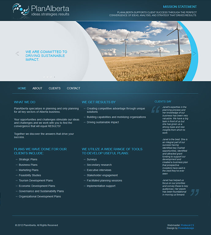 homepage of planalberta.com website screenshot