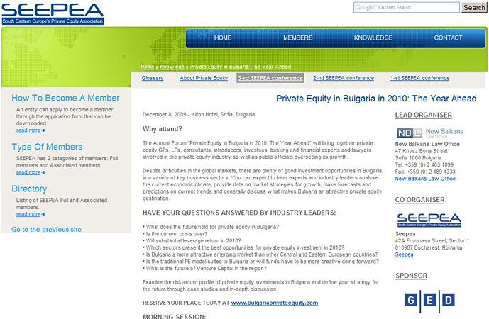 interior page of SEEPEA website screenshot