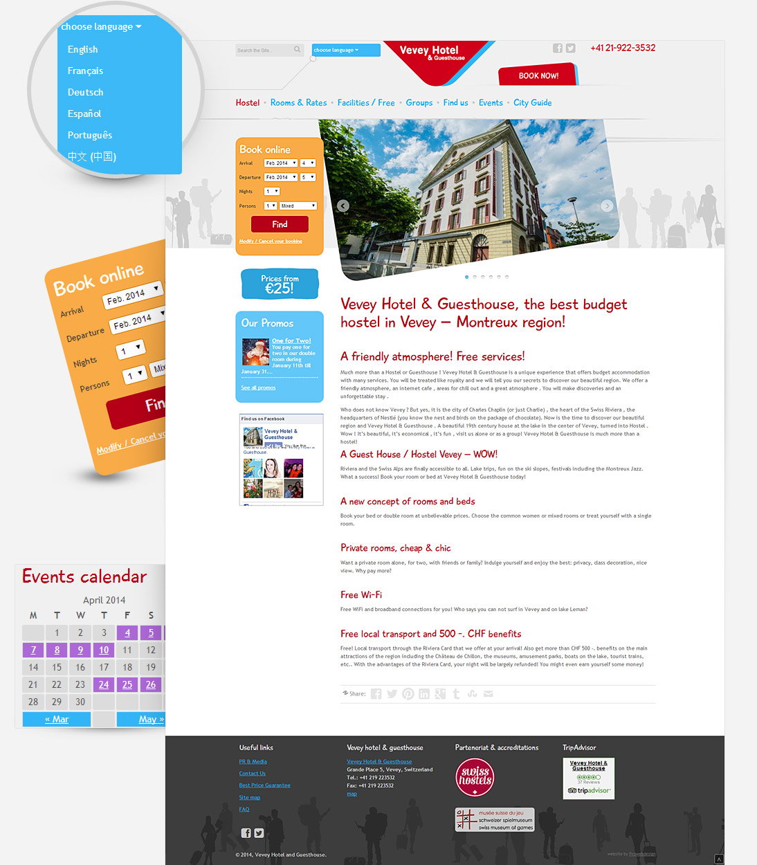 Home page screenshot of veveyhotel.com