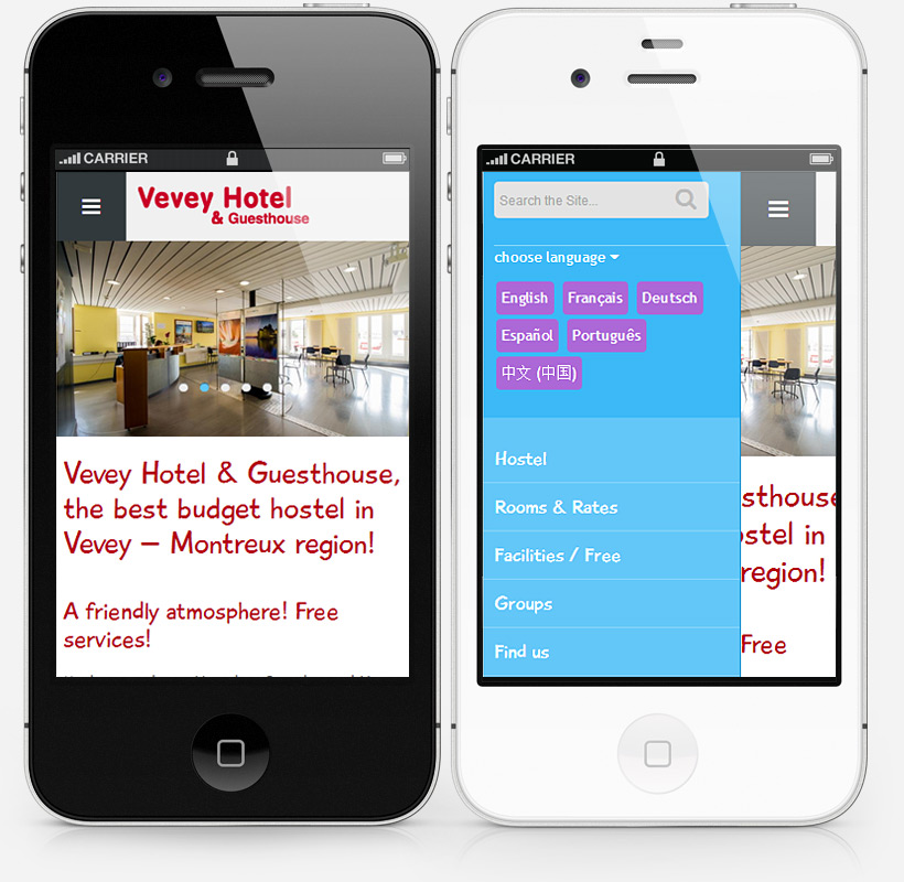 iPhone home page screenshot of veveyhotel.com