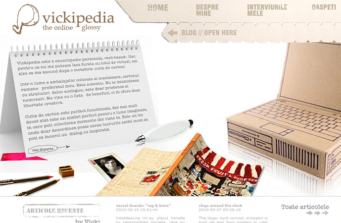homepage of vickipedia.ro screenshot