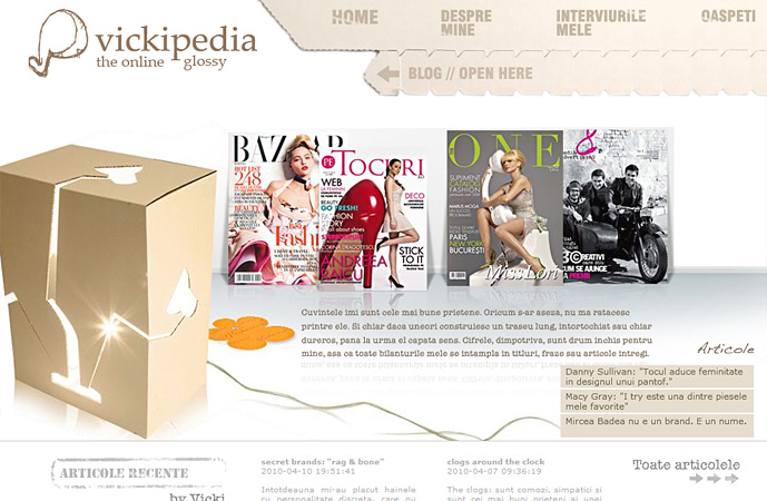 about me page of vickipedia.ro screenshot