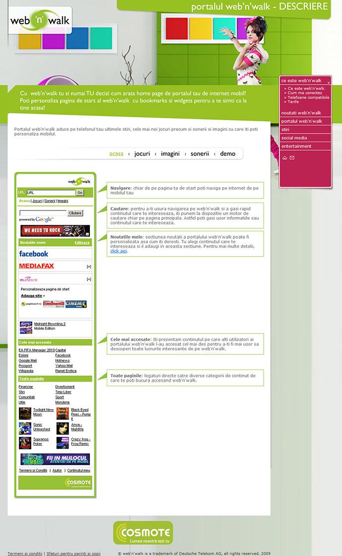 homepage of web'n'walk website