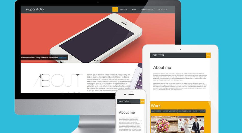 One page responsive portfolio template for designers - Web