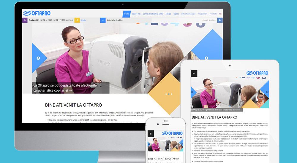 Homepage of Oftapro site screenshot, responsive