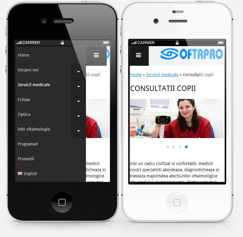 Site on iPhone (open and closed menu) screenshot