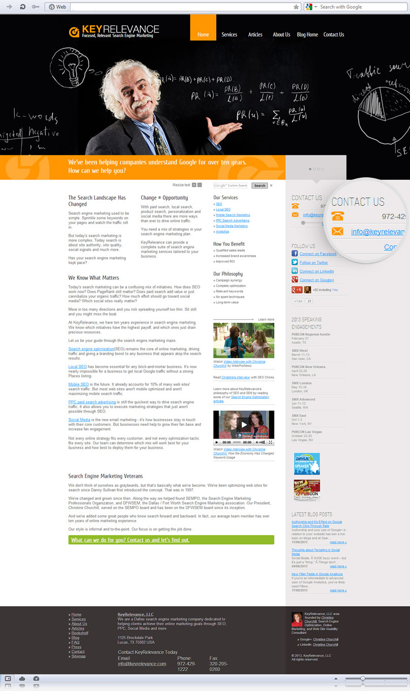 homepage of keyrelevance.com website screenshot