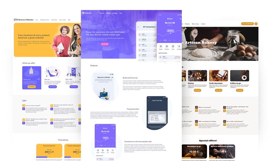 Small Business Website package - design variants