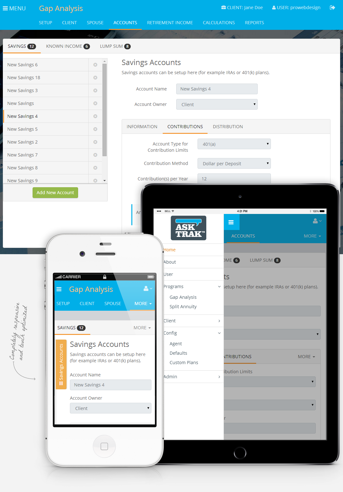 AskTRAK screenshot. Responsive layout