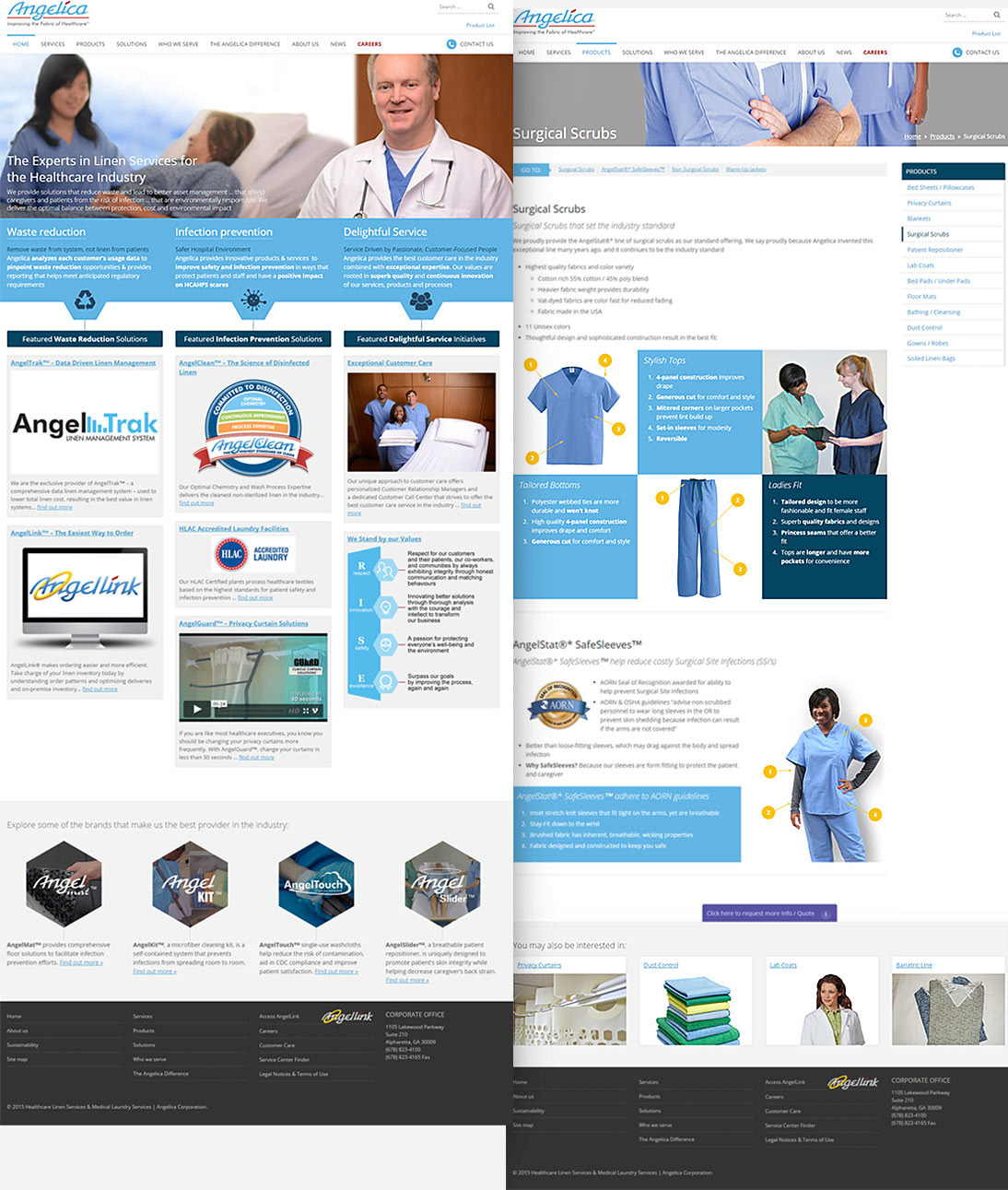 Full-length home page & internal page of angelica.com