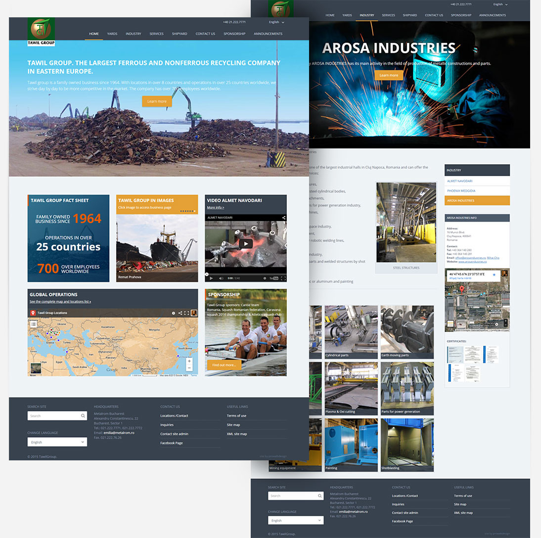 Tawil Group site screenshot: home and internal pages